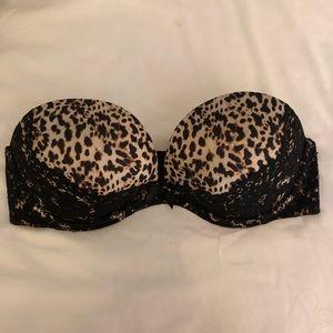 Victoria's Secret 34D Strapless Cheetah black lace